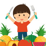Boy fruits and kids menu concept. Boy and fruits icon. Kids menu healthy and organic food theme. Colorful design. Vector illustration Stock Image