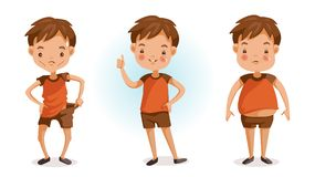 Fat and thin. Boy of full figured portraits. Changes in body weight. Three forms. fat, thin, slender, bad, excellent. Children`s health and growth concept stock illustration