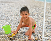 Boy funny beach Royalty Free Stock Photography