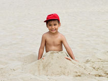 Boy funny beach Stock Image