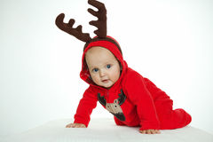 Boy in funny deer costume Royalty Free Stock Photo