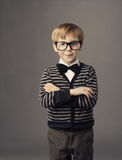 Boy in funny glasses, little smat child fashion portrait Stock Photography