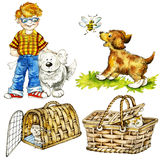 Boy and funny pets. Cute boy and funny pets: dogs and cats Stock Images