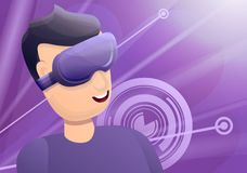 Boy game goggles concept banner, cartoon style stock illustration