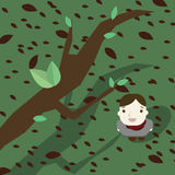 The boy in garden icon great for any use. Vector EPS10. Stock Image
