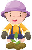 Boy gardening Stock Photo