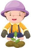 Boy gardening Stock Photo