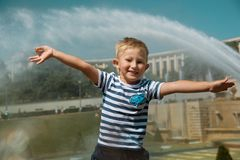 Boy in Gardens of the Trocadero royalty free stock image