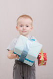 The boy gave gifts Stock Photos