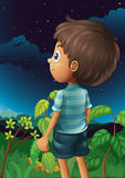 A boy gazing at the sky. Illustration of a boy gazing at the sky Stock Photos