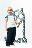 Boy with gear Royalty Free Stock Photography