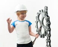 Boy with gear Stock Images