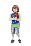 Boy genius concept. Cute child with large pencil, calculator and eyeglasses, isolated stock photo