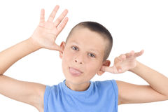 Boy and gesture Stock Images