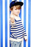 Boy gesturing at camera Royalty Free Stock Photo