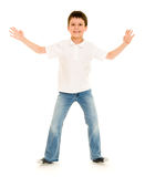 Boy gesturing on white Royalty Free Stock Images