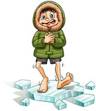 A boy getting a cold feet Royalty Free Stock Photo