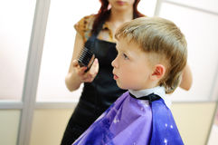 Boy getting haircut Stock Image