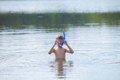 Boy Getting Ready to Snorkel Royalty Free Stock Photos