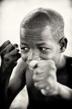 A boy from Ghana wants to fight Stock Photography