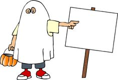 Boy in a ghost costume stock illustration