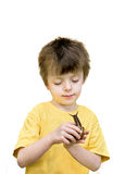 Boy and Giant african landsnail. Stock Photos