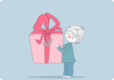 Boy with giant gift box. Vector illustration of boy with giant gift box Stock Photos