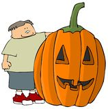 Boy With A Giant Jack-o-lanter. This illustration depicts a boy standing by a giant jack-o-lantern stock illustration