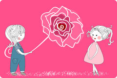Boy with giant rose. Vector illustration of an boy with giant rose for his girlfriend Royalty Free Stock Photos