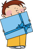 Boy with gift Stock Images
