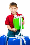 Boy with a gift Stock Photo