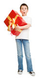 Boy with gift box Royalty Free Stock Photo