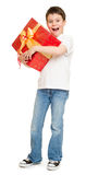 Boy with gift box Stock Photos