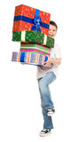 Boy with gift boxes Stock Photography