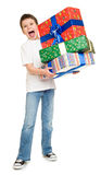 Boy with gift boxes Stock Photo
