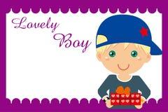 Boy gift frame. Illustration of Boy gift frame Royalty Free Stock Image