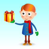 Boy with gift Stock Photos