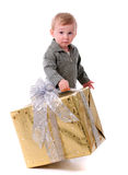 Boy with gift isolated Royalty Free Stock Photo