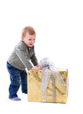 Boy with gift isolated Royalty Free Stock Photos