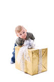 Boy with gift isolated Royalty Free Stock Image