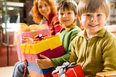 Boy with giftbox Stock Photography