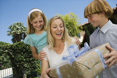 Boy Gifting His Mother Outdoors Stock Images