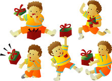 Boy with gifts. Illustrations vector cartoon of Boy with gifts stock illustration