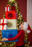 Boy with gifts Stock Image