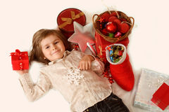 The boy with gifts for New Year Stock Photo