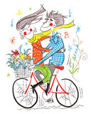 The boy and gile on the bicycle. Happy boy and girl on the bike Royalty Free Stock Image