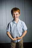 Boy with ginger hair making  a face Stock Photo