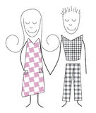 Boy and girl. Pair in love together, children, simple vector illustration Royalty Free Stock Images