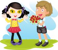 Boy and girl. Illustration of boy and girl on white Stock Images
