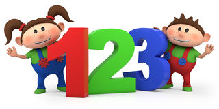 Boy and girl with 123 numbers. Cute boy and girl with 123 numbers - high quality 3d illustration Royalty Free Stock Photography